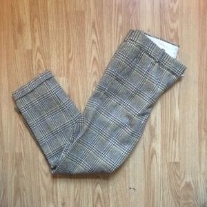 J Crew Cafe Capri Plaid Wool Trousers
